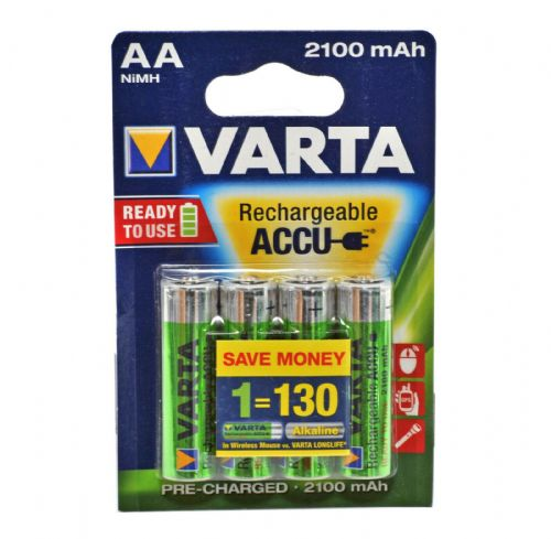 4 x VARTA AA NiMH High Performance Rechargeable  Ready2use 2100mAh  Batteries